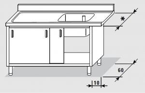 52501.12 Tavolo armadio entrata sx porte scorrevoli agi cm 120x*x85h 1 vasca