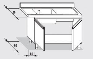 52550.09 Tavolo armadio entrata dx con 2 porte battenti agi cm 90x*x85h 1 vasca