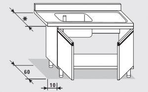52550.11 Tavolo armadio entrata dx con 2 porte battenti agi cm 110x*x85h 1 vasca