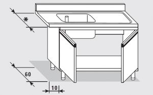 52550.13 Tavolo armadio entrata dx con 2 porte battenti agi cm 130x*x85h 1 vasca