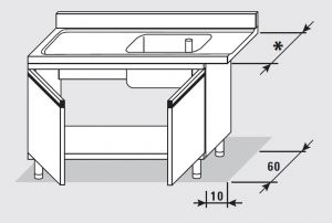 52551.11 Tavolo armadio entrata sx con 2 porte battenti agi cm 110x*x85h 1 vasca