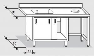 52600.18 Tavolo armadio entrata dx porte scorrevoli agi cm 180x*x85h 1 vasca foro cernita