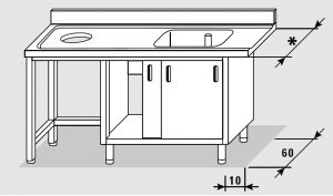 52601.17 Tavolo armadio entrata sx porte scorrevoli agi cm 170x*x85h 1 vasca foro cernita