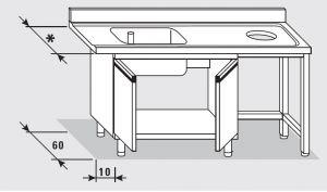 52650.15 Tavolo armadio entrata dx con 2 porte battenti agi cm 150x*x85h 1 vasca foro cernita