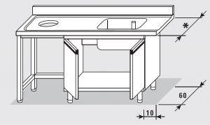 52651.19 Tavolo armadio entrata sx con 2 porte battenti agi cm 190x*x85h 1 vasca foro cernita