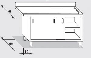 52700.13 Tavolo armadio uscita dx porte scorrevoli agi cm 130x*x85h