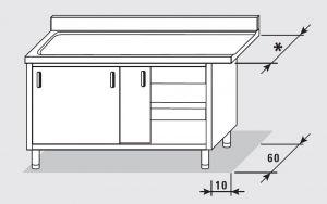 52701.15 Tavolo armadio uscita sx porte scorrevoli agi cm 150x*x85h