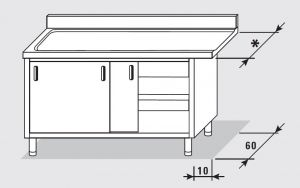 52701.19 Tavolo armadio uscita sx porte scorrevoli agi cm 190x*x85h