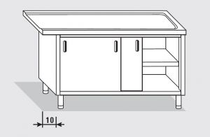 52703.17 Tavolo armadio uscita dx porte scorrevoli agi cm 170x60x85h senza alzatina