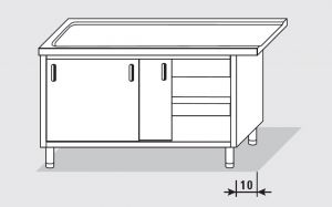 52704.16 Tavolo armadio uscita sx porte scorrevoli agi cm 160x60x85h senza alzatina