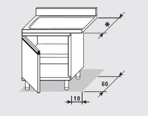 52751.06 Tavolo armadio uscita sx con 1 porta battente agi cm 60x*x85h