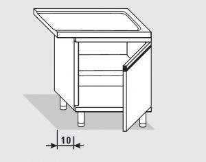 52753.06 Tavolo armadio uscita dx con 1 porta battente agi cm 60x60x85h senza alzatina