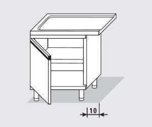 52754.07 Tavolo armadio uscita sx con 1 porta battente agi cm 70x60x85h senza alzatina
