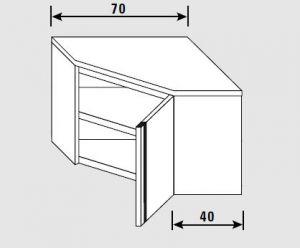 62700.07 Pensile angolo porta battente 1 ripiano cm 70x70x60h