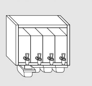 63300.08 Pensile porta 4 bagne 4 bacinelle cm 80x40x60h