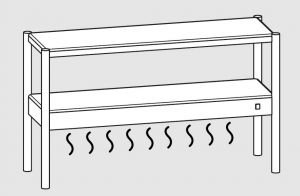 64101.20 Ripiano di appoggio tavoli 1 ripiano sup neutro cm 200x35x70h 1 ripiano inf caldo