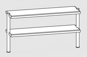 64110.15 Ripiano di appoggio tavoli 2 ripiani 2 gambe cm 150x35x70h