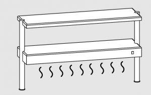 64111.20 Ripiano di appoggio tavoli 2 ripiani 2 gambe cm 200x35x70h con ripiano inf caldo e sup neutro
