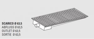 85011.10 Piletta sifonata a pavimento da cm 100x30x12h con filtro e scarico orizzontale laterale