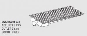 85110.12 Piletta sifonata a pavimento da cm 120x40x12h con filtro e scarico verticale laterale