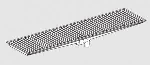 85120.34 Piletta sifonata a pavimento da cm 340x40x12h con filtro e scarico verticale frontale