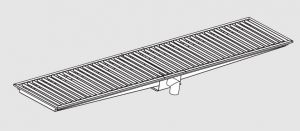 85120.38 Piletta sifonata a pavimento da cm 380x40x12h con filtro e scarico verticale frontale