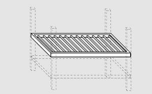 93700.38 Ripiano grigliato per tavoli past prof 80 cm 380x80x4