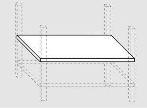 Ripiano intermedio tavoli su gambe eur cm 50x80